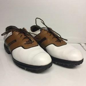 Nike Golf Air Tour Saddle Golf Shoes Brown White